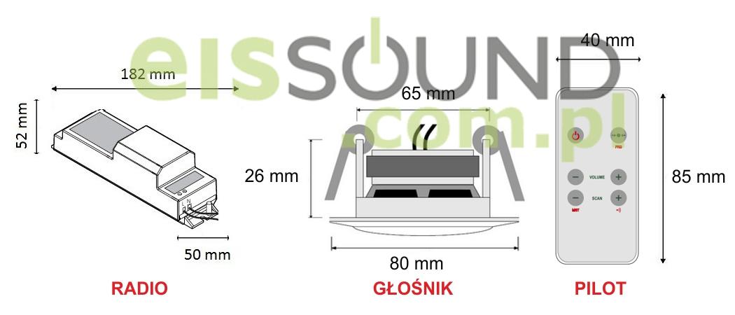 Wymiary elementów zestawu KB Sound Basic