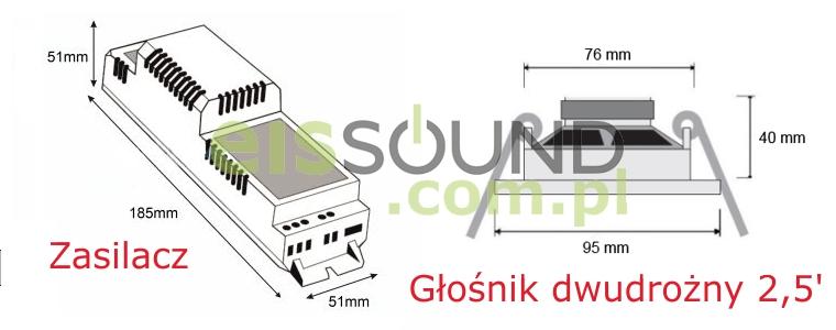 Wymiary elementów wchodzących w skład zestawu radiowego Eis Sound Premium