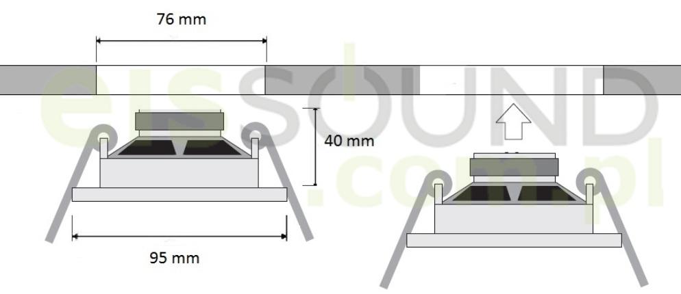 Schemat głębokości zabudowy głośników sufitowych Eis Sound