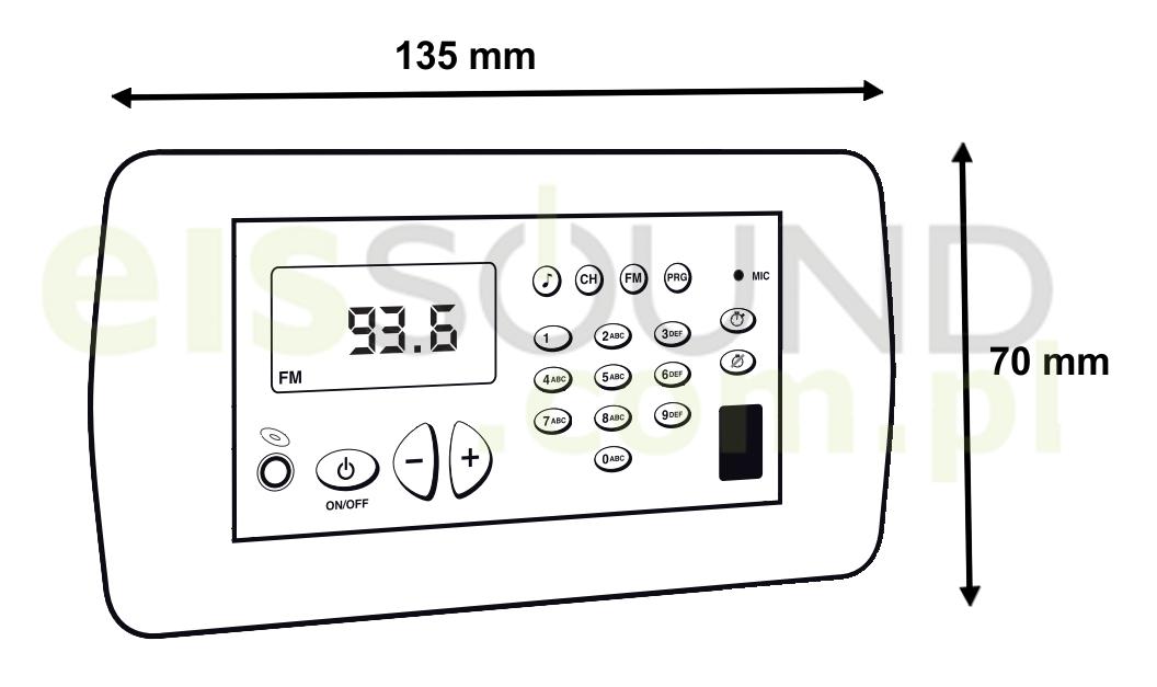 Wymiary ramki ozdobnej do radia łazienkowego Eis Sound Premium