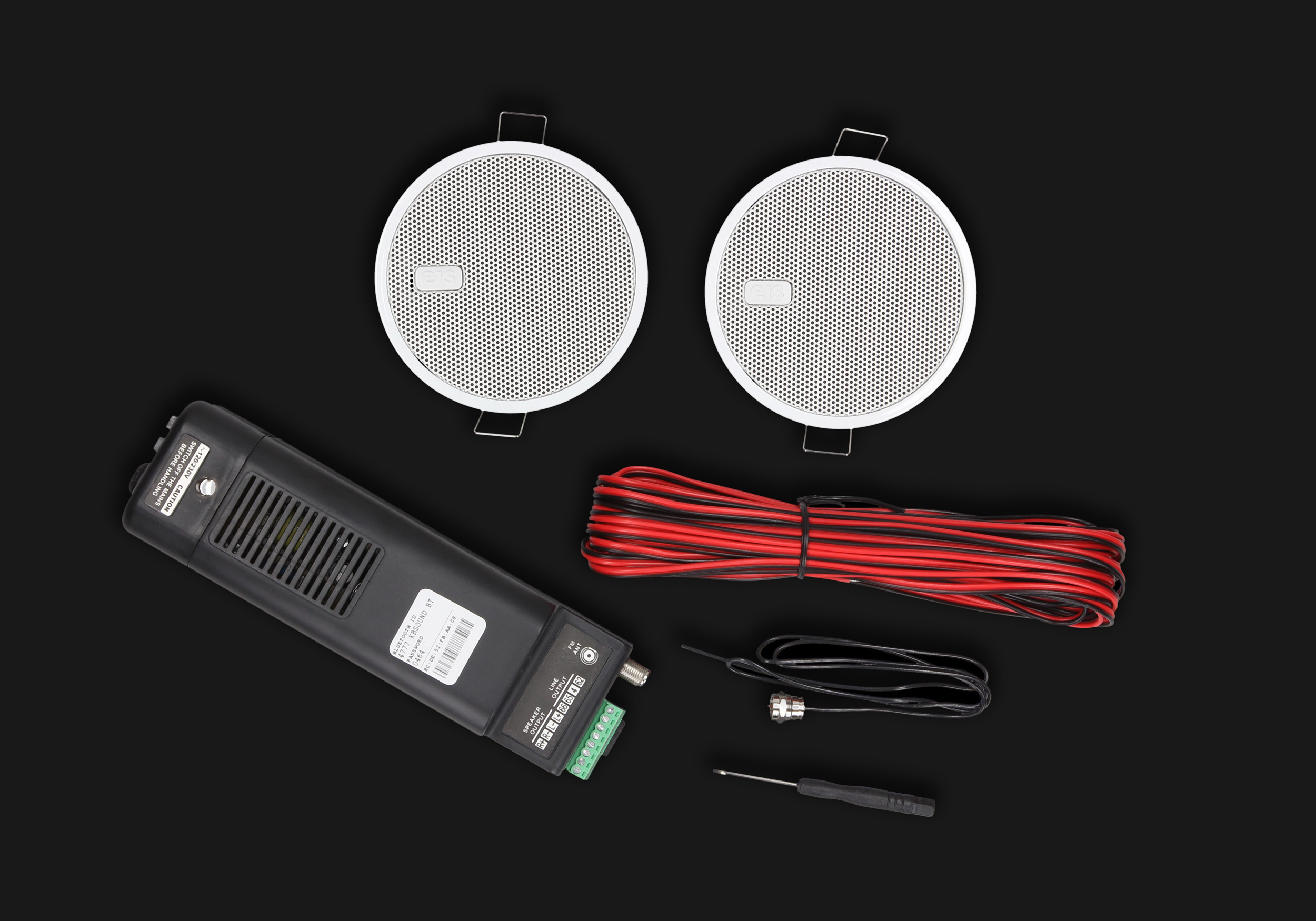 zestaw radia łazienkowego do zabudowy w suficie podwieszanym z łącznością Bluetooth